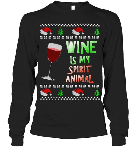 ugly christmas sweater wine is my spirit animal