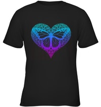 ed669591d Womens Butterfly Graphic Tee with Heart Mandala Design
