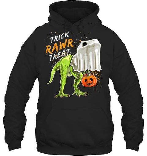 113d7975 Trick Rawr Treat Halloween T Rex Dinosaur Ghost Shirt Boys