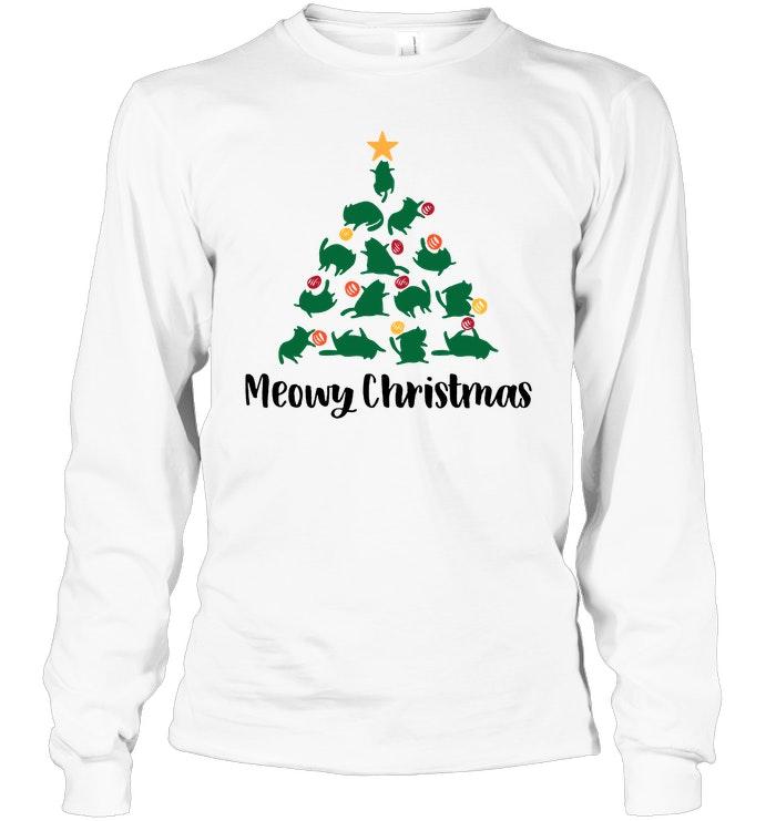 e9cef1886 Cat Meowy Christmas T-Shirt