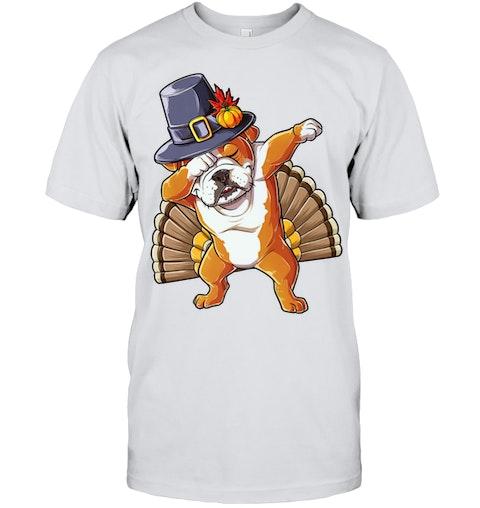eb0f31e3 Thanksgiving Funny Dabbing English Bulldog T Shirt