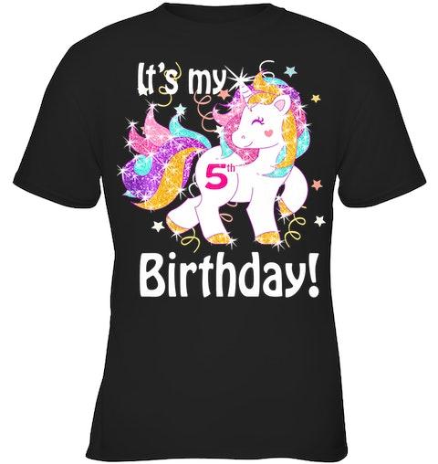 Kids Its My 5th Birthday Unicorn Shirt 5 Year Old Girl Gift